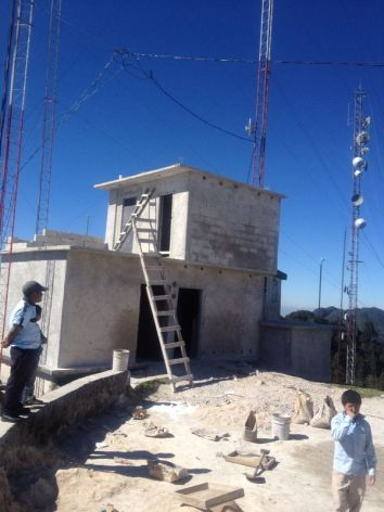 Pictured is the transmitter room in construction  atop Tzontehuitz Mountain where we plan to install a 2500 watt transmitter and a 2 bay antenna.