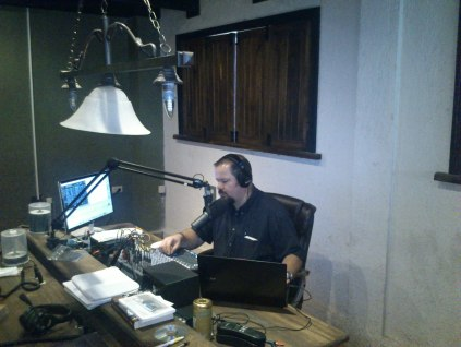 Tom preaching at Compassion Radio In Chiapas, Mexico